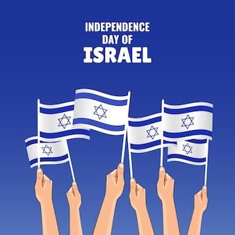 Illustrazione sul tema festa dell'indipendenza di israele. le mani tengono le bandiere del paese