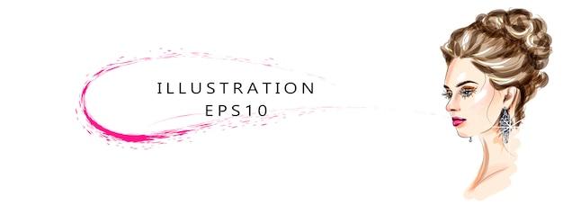 Illustrazione sul tema del trucco e della bellezza. schizzo di arte alla moda. trucco viso glamour giovane donna disegnata a mano con bellissimi occhi