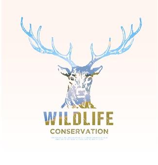 Illustrazione sui temi degli animali selvatici d'america, sopravvivenza in natura, caccia, campeggio, viaggio. paesaggio montano. cervo.