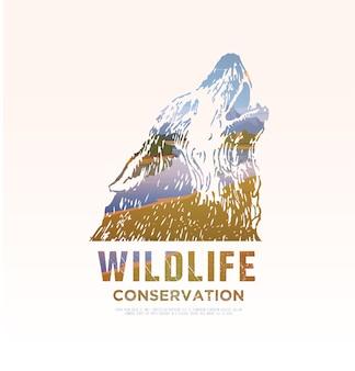 Illustrazione sui temi degli animali selvatici d'america, sopravvivenza in natura, caccia, campeggio, viaggio. paesaggio montano. lupo.