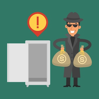 Illustrazione, ladro ha rubato soldi dalla cassaforte, formato eps 10