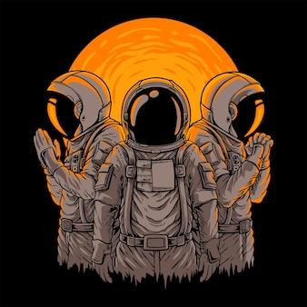 Illustrazione tre astronotsvettore premium
