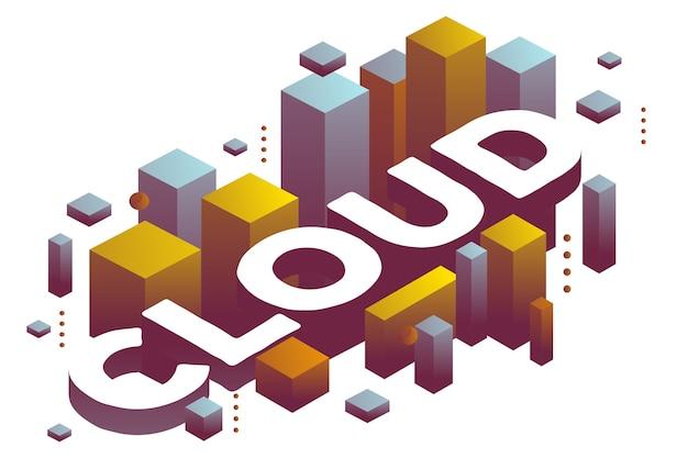 Illustrazione del word cloud tridimensionale con forme di colore astratte