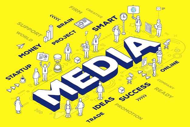 Illustrazione di media parola tridimensionale con persone e tag su sfondo giallo con schema.