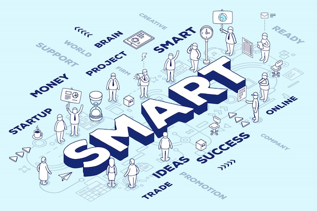 Illustrazione della parola tridimensionale intelligente con persone e tag su sfondo blu con schema. concetto di tecnologia intelligente.