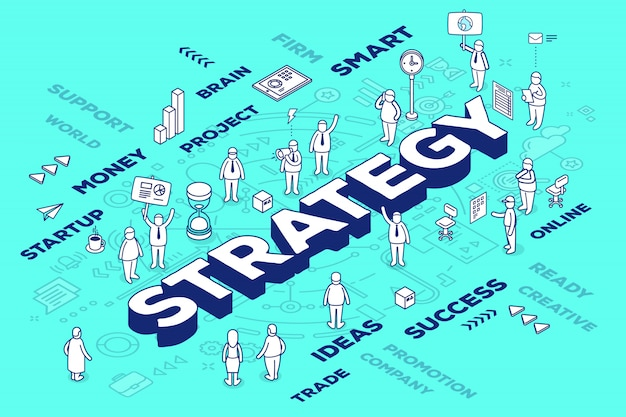 Illustrazione della strategia tridimensionale delle parole con persone e tag su sfondo blu con schema.