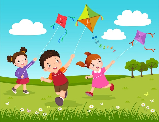 Illustrazione di tre bambini che fanno volare gli aquiloni nel parco