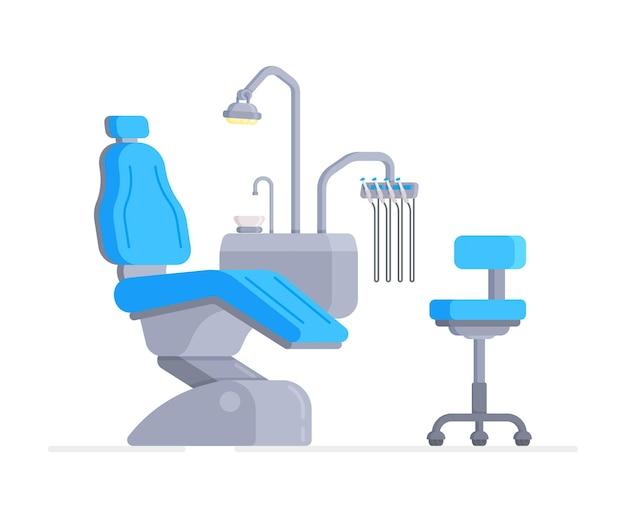 Illustrazione di un interior design tridimensionale di una poltrona odontoiatrica