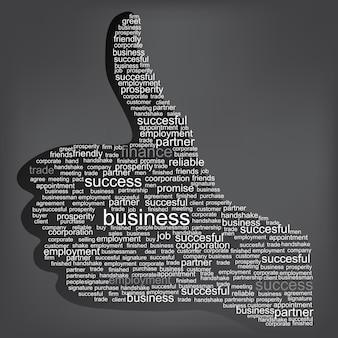 Illustrazione del simbolo del pollice in alto, composto da parole