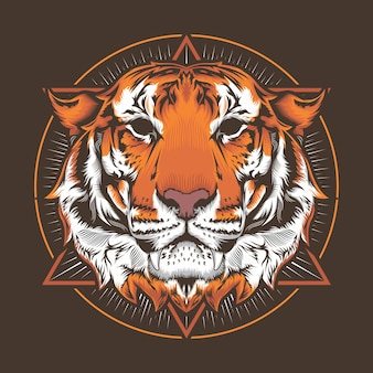 Illustrazione della testa della tigre e del concetto di disegno vettoriale dettagliato di circle art