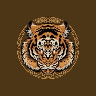 Illustrazione del design della testa di tigre
