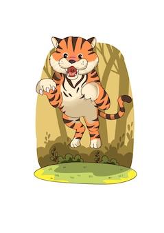 Illustrazione della tigre che salta alla macchina fotografica