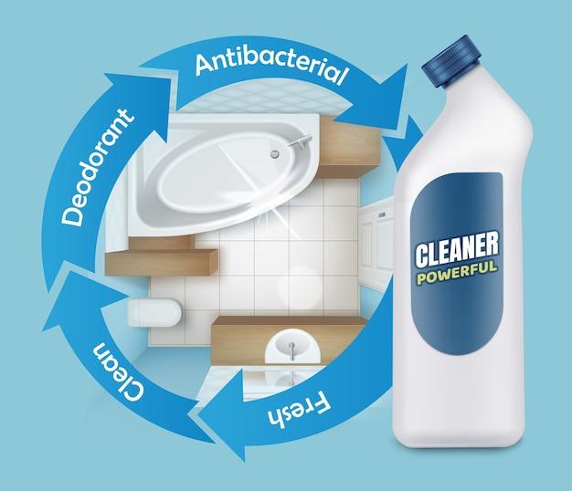Illustrazione di annunci di detergente per stampi per piastrelle, potente prodotto detergente, vista dall'alto del bagno con bottiglia di plastica bianca su sfondo blu