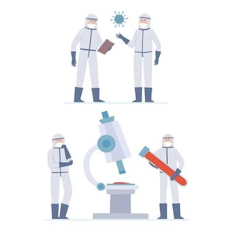 Illustrazione di due minuscoli dottori: scienziati, coronavuris e grande microscopio, pensanti operatori sanitari e grande tubo con sangue nelle maschere di prevenzione