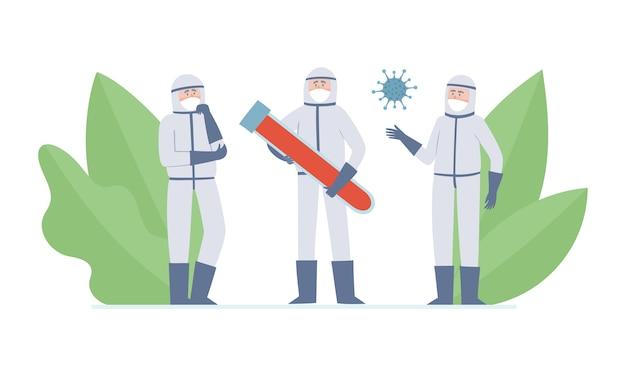 Illustrazione di due minuscoli medici: scienziati, coronavuris e tubo con sangue, operatori sanitari pensanti e grande tubo con sangue nelle maschere di prevenzione dall'inquinamento atmosferico urbano, coronavirus.