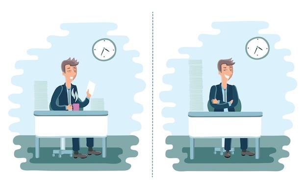 Illustrazione di uomini stanchi e pieni di energia cartone animato in ufficio con una risma di carta sulla scrivania.