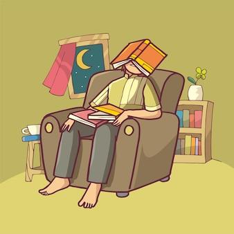 Illustrazione di un uomo stanco che legge un libro. arte disegnata a mano