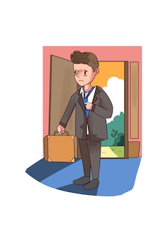 Illustrazione di uomo stanco di lavoro