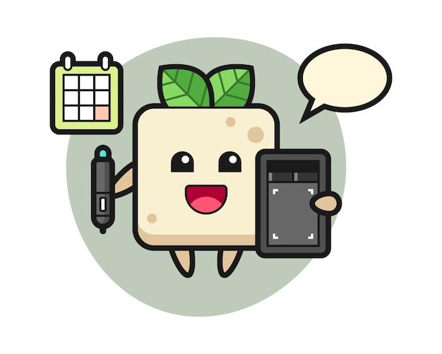 Illustrazione della mascotte del tofu come graphic designer, design di stile carino per t-shirt Vettore Premium