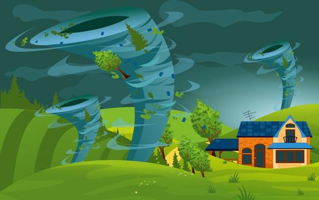 L'illustrazione della tempesta del tornado ha colpito la città. l'uragano nel villaggio distrugge edifici, campi e alberi in stile piatto.