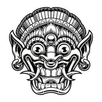 Un'illustrazione di una maschera tradizionale di bali. questa illustrazione può essere utilizzata come stampa di una camicia o come logotipo per un tema asiatico