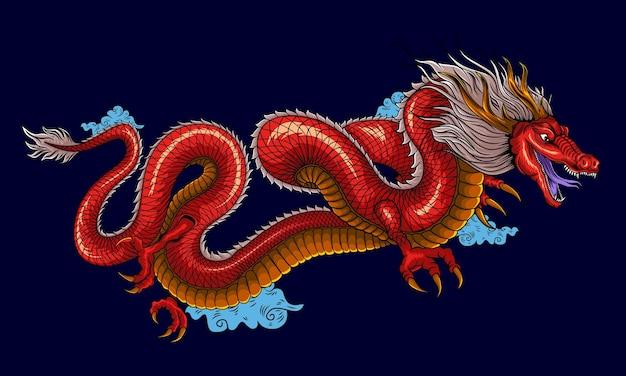 Illustrazione del carattere cinese del drago cinese tradizionale