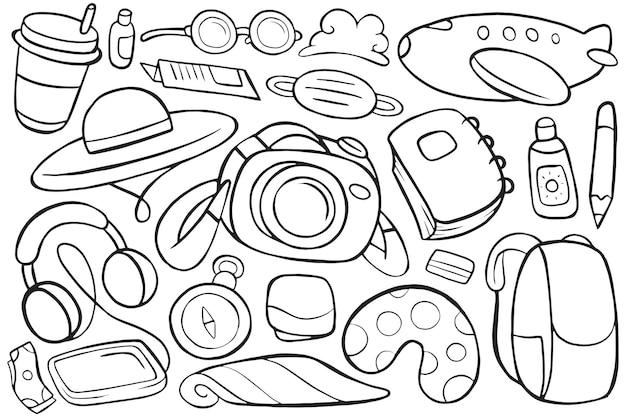 Illustrazione del doodle di viaggio in stile cartone animato