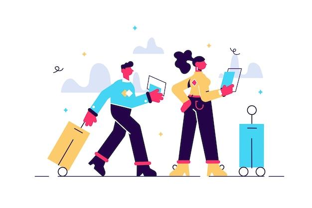 Illustrazione della coppia in viaggio con i bagagli