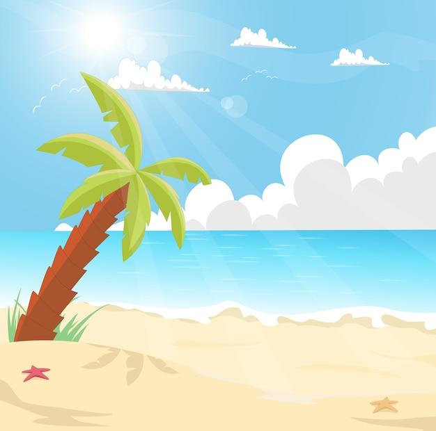 Illustrazione di un'isola tropicale con palme