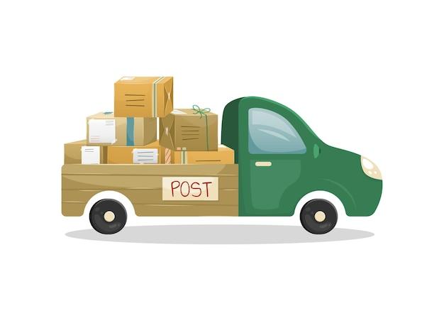 Illustrazione di un camion con un rimorchio aperto con un mucchio di pacchi postali in scatole