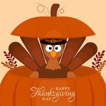 Illustrazione della turchia uccello all'interno della zucca con foglie su sfondo arancione chiaro per felice giorno del ringraziamento.