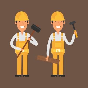 Illustrazione, due costruttori che tengono in mano un martello e sorridono, formato eps 10