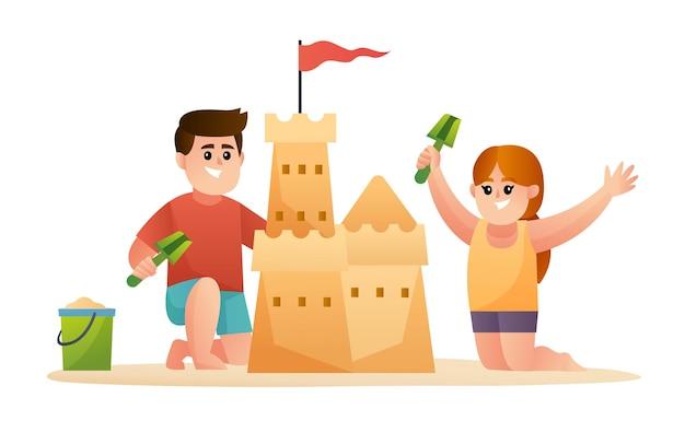 Illustrazione di due bambini carini che costruiscono un castello di sabbia