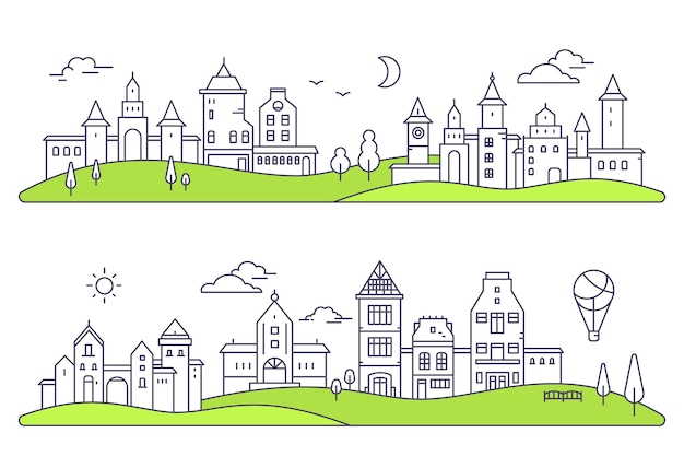 Illustrazione di due paesaggi dettagliati della città su sfondo bianco