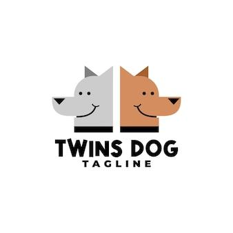 Illustrazione di due cani per qualsiasi logo aziendale relativo al cane o all'animale domestico