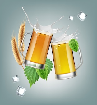 Illustrazione di due boccali di birra in vetro con ingredienti