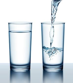 Illustrazione di due bicchieri di acqua fresca piena e versando