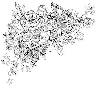 Illustrazione di due farfalle grafiche disegnate a mano sul bouquet di fiori di peonia e altre piante