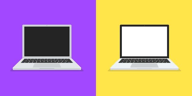 Illustrazione di due laptop con stile design piatto Vettore Premium