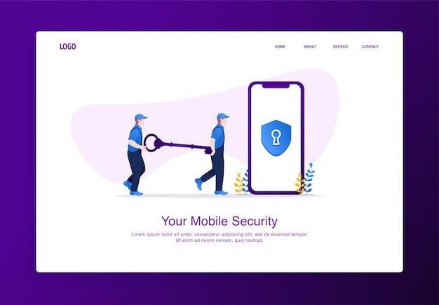 L'illustrazione di due uomini porta la chiave per sbloccare la sicurezza mobile. concetto di sicurezza moderno design piatto, modello di pagina di destinazione.