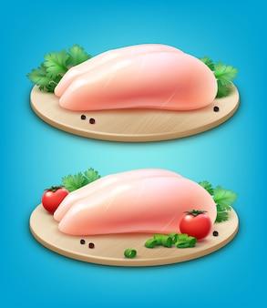 Illustrazione di due filetti di petto di pollo crudo con pepe in grani