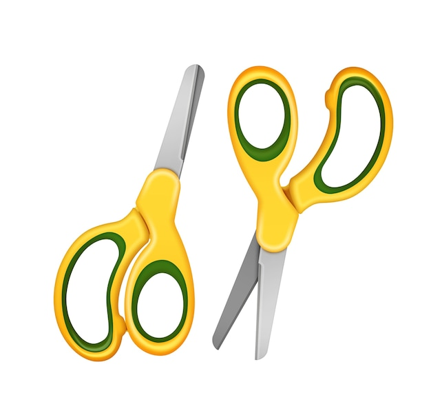 Illustrazione di due forbici di sicurezza per bambini di colore giallo. isolato su sfondo bianco