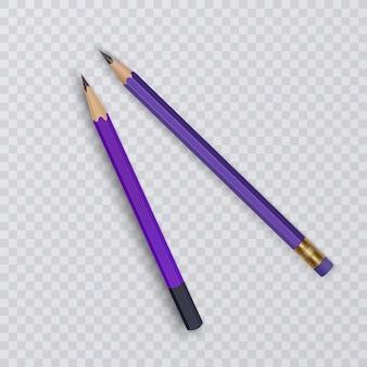 Illustrazione di due matite realistiche affilate isolate