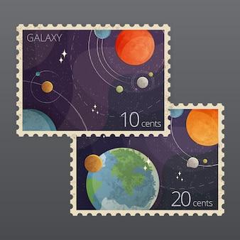 Illustrazione di due francobolli d'epoca spazio con pianeti isolati su sfondo grigio