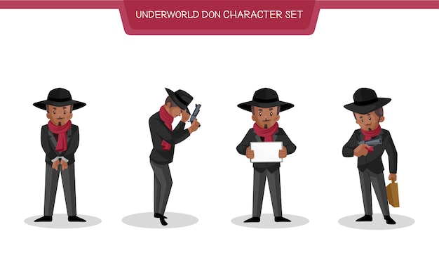 Illustrazione di underworld don character set