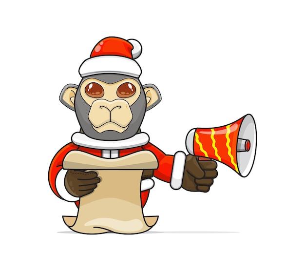 Illustrazione di un unico animale scimmia umanoide che indossa un costume che tiene in mano un megafono e legge il copione