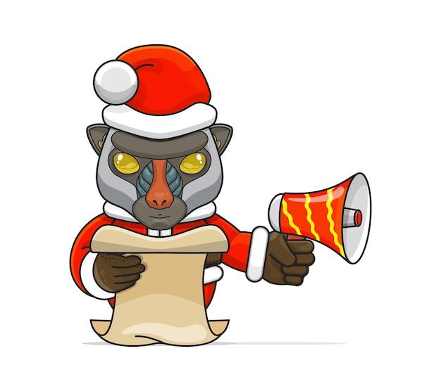 Illustrazione di un unico animale mandrillo umanoide che indossa un costume che tiene in mano un megafono e legge lo script