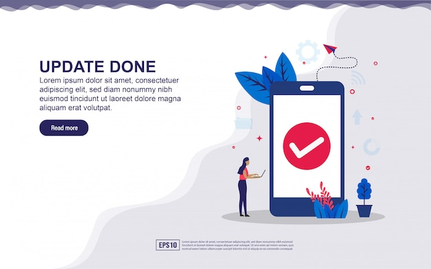 Illustrazione dell'aggiornamento effettuato e sistema sicuro con smartphone e persone minuscole. illustrazione per landing page, contenuti sui social media, pubblicità.
