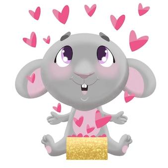 Illustrazione per san valentino carino grigio topo con una scatola di cuori rosa