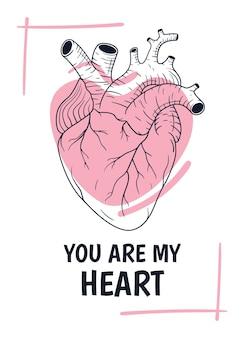 Illustrazione del biglietto di auguri di san valentino con cuore umano anatomico line art e testo incantevole.